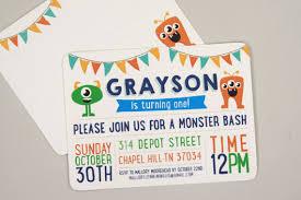 Photo Invitation Postcards Monster Bash Halloween First Birthday Party Invitation Postcards