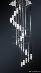 hotel staircase chandelier modern lighting fixture square chandelier rain drop lighting spiral stairway crystal chandeliers stainless