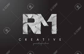 Rm R M ゼブラ線テクスチャ デザイン ベクトル イラストとロゴを手紙します