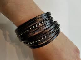 double wrap shredded studded leather bracelet black