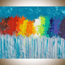 rainbow flowers by qiqigallery 30 x24 original modern abstract wall paintings modern abstract painting