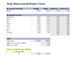Weight Loss And Inches Tracker Measurements Weight Tracker