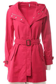 womens moncler style belted hooded trench jacket belted hooded trench jacket pink hot cake mt8715