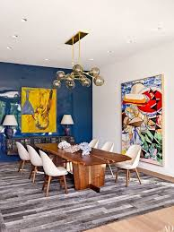 art for the dining room. Blue And Gray Dining Room Filled With Art For The