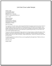 Unit Clerk Cover Letter 10 Sample Of Cover Letter For Resume Resume Samples