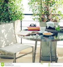 Set The Table Book Book On Table Outdoor Terrace Home Decoration Stock Photo Image