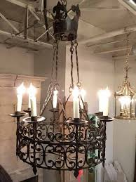 item l32 hand forged iron chandelier c 1800