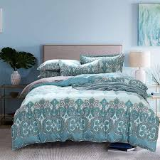 2018 bright light turquoise color paisley print bedding set full queen size bed linens cotton comforter duvet cover sheets 4 from wmy2017 271 33 dhgate