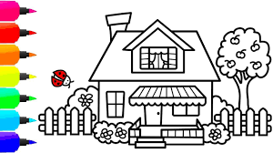 Our house is the place we come home to, are most familiar with and feel the most comfort. How To Draw A Colorful House For Kids Cute House Coloring Page For Children Free Kids Coloring Pages Free Halloween Coloring Pages House Colouring Pages