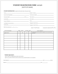Student Registration Forms For Ms Word Word Excel Templates