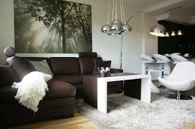 Silver And White Living Room Apartment Design Brown Sofa In Single White Chair On White Fur
