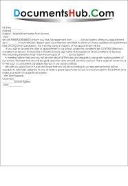 Appointment Letter For School Teacher