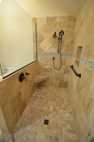 Amazing Doorless Shower Design With Brown Stone Wallpaper .