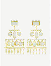 at selfridges kendra scott emmylou 14ct gold plated crystal and gemstone chandelier earrings