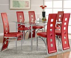 Red dining table set Modern Dining Table And Chair red Set Dunk Bright Furniture Coaster Los Feliz Contemporary Metal Dinner Table And Red
