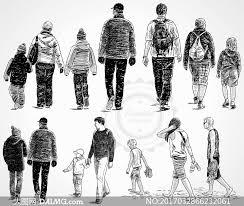 黑白手绘素描效果人物矢量素材v16 大图网素材daimgcom
