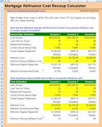 Mortgage Refinance Calculator Excel Free Mortgage Refinance Cost Recoup Calculator