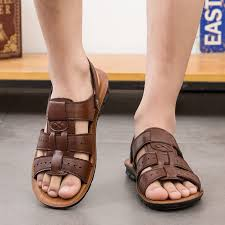 new hot summer men s large casual sandals british mens genuine leather beach shoes cool slippers students