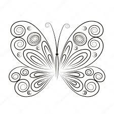 бабочки контур рука нарисованные вектор иллюстрации бабочки