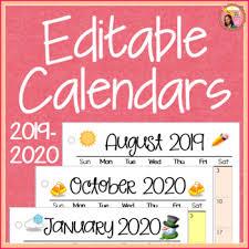 2019 2020 Calendar Printable And Editable