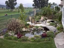 a relaxing spot near a garden pond