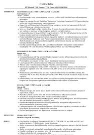 Regulatory Compliance Manager Resume Samples Velvet Jobs