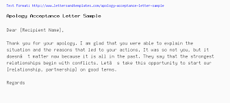 Apologize Sample Letters Apology Acceptance Letter Sample