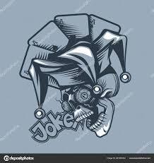 Lebka Joker Pozadí Hrací Karty Styl Tetování Stock Vektor