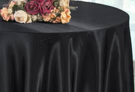 132 round satin tablecloth black 55939 1pc pk