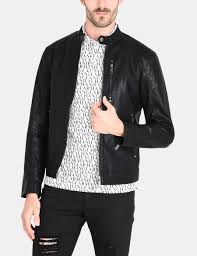 armani exchange clean front faux leather moto jacket pu for men a x