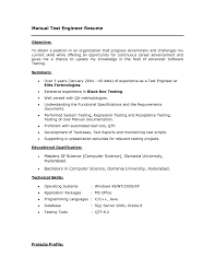 Sample Resume For Manual Testing Game Test Engineer Sample Resume 60 Manual Tester On Sle For Software 38