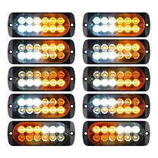 Zqasales 10pcs Emergency Strobe Lights Waterproof 12 Led White Amber Warning Side Marker Light Tow Truck Flashing 12v 24v Universal Car Accessories
