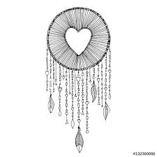 Dream Catchers Sketches Vector dream catcher with heart shape illustration Native 51