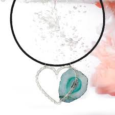 black cord necklace with sterling silver heart pendant and aqua agate stone