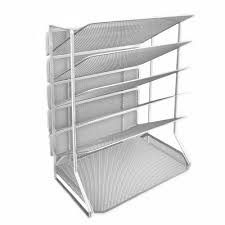 Seville Classics 6 Tray Iron Mesh Office Vertical Desktop Wall Mount Organizer Letter A4 Size