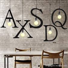 modern simple and creative character iron alphabet pendant lamp spelling words spelling letters combination originality with 300 55 piece on