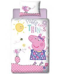 peppa pig happy single panel duvet cover and pillowcase set