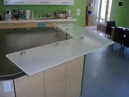 backpainted raised white glass countertop for a kitchen island