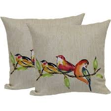 mainstays painted birds toss pillow 2 pack painted birdsoutdoor patios outdoor decorpillow ideastoss pillowspillow