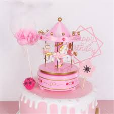 Jual Musical Carousel Cake Toppers Newborn Baby Boy First Birthday