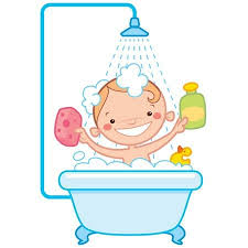 shower tub clipart. Contemporary Tub Happy Cartoon Baby Kid Having Bath In A Bathtub Holding Shampoo Bottle  And Scrubber And Shower Tub Clipart