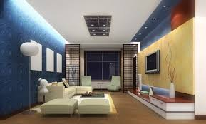 interior decoration. Exclusive Design Blue Walls Living Room Interior Decoration A