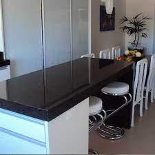 Bancada de cozinha com área seca em granito preto semi absoluto. Granito Preto Absoluto Preco M2 Sp Gran Ramos