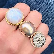 these rings just landed in nyc greenwichstjewelers rainbowmoonstone pinkpearl snakeskinagate jjpowerrings