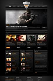 website template video video games website template with dark background and big footer