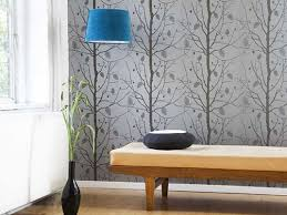 Small Picture Symmetric Interior Design love the gray tree wallpaper with the