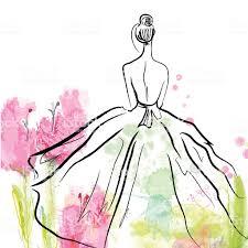 мода девушка в красивом платьеэскиз стоковая векторная графика и