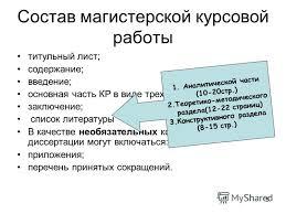 Презентация на тему План занятий Вводное занятие Выдача и  5 5 Состав магистерской курсовой работы титульный лист содержание введение