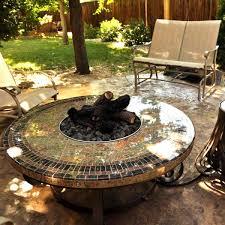 mosaic round gas fire pit table 45 signature living woodlanddirect com