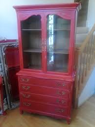painted red furniture. SOLD-RED FRENCH CHINA CABINET. Architectural Furniture Painted Red A